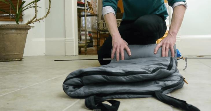 how to fold a sleeping bag step 4