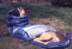nude in sleeping bag